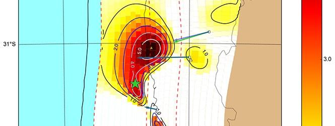 Estimación preliminar del desplazamiento del terremoto de Illapel 2015