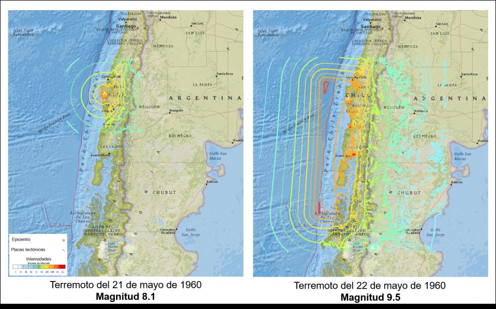 Mapa de intensidades asociadas a los terremotos del 21 de mayo de 1960 Mw 8.1 (izquierda) y el terremoto de Valdivia del 22 de mayo de 1960 Mw 9.5 (derecha). (Fuente: USGS)