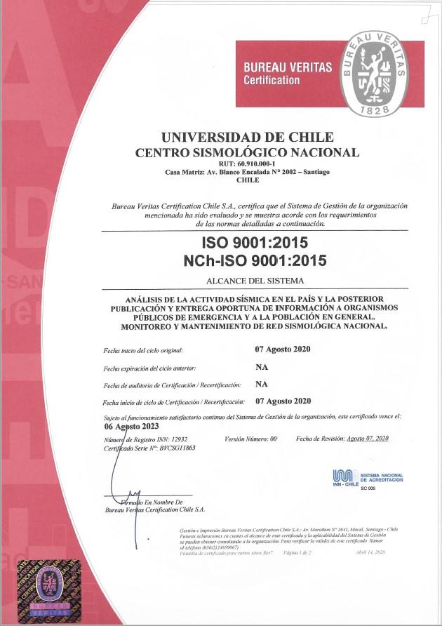 Certificado ISO CSN